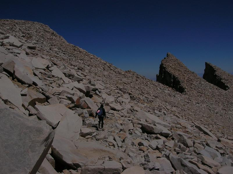 Descending from Mt Whitney summit