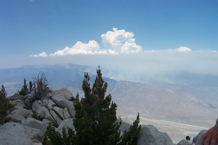 Looking north from San Jacinto Peak.  Sawtooth fire in Yucca Valley