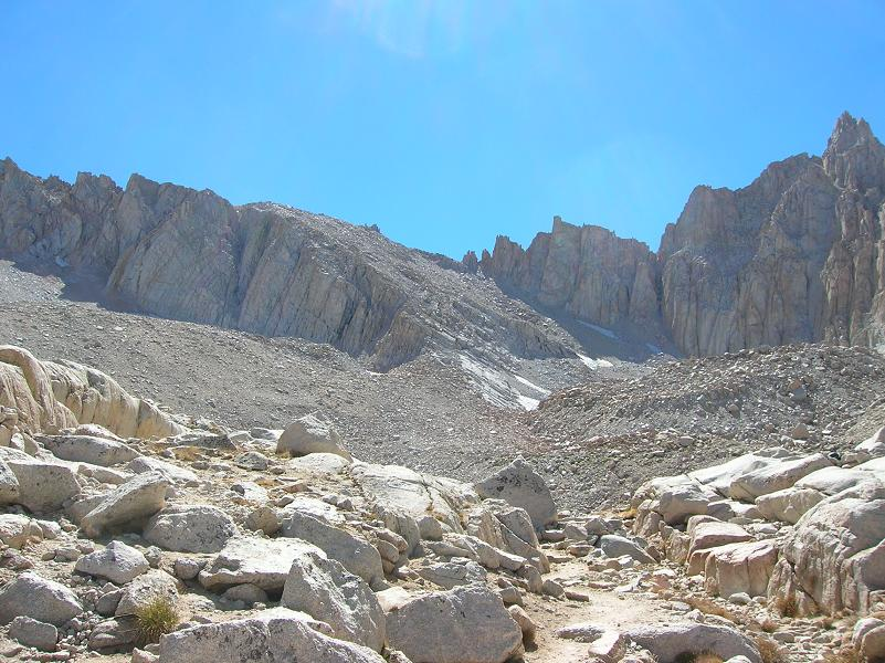 Mt Whitney Tail Camp - Looking up towards switchbacks, they're there somewhere
