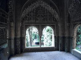 Ornately decorated room in Palacio Nazaries, la Alhambra