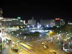 Plaza Catalunya at night from Hotel Ginebra, Barcelona, Spain