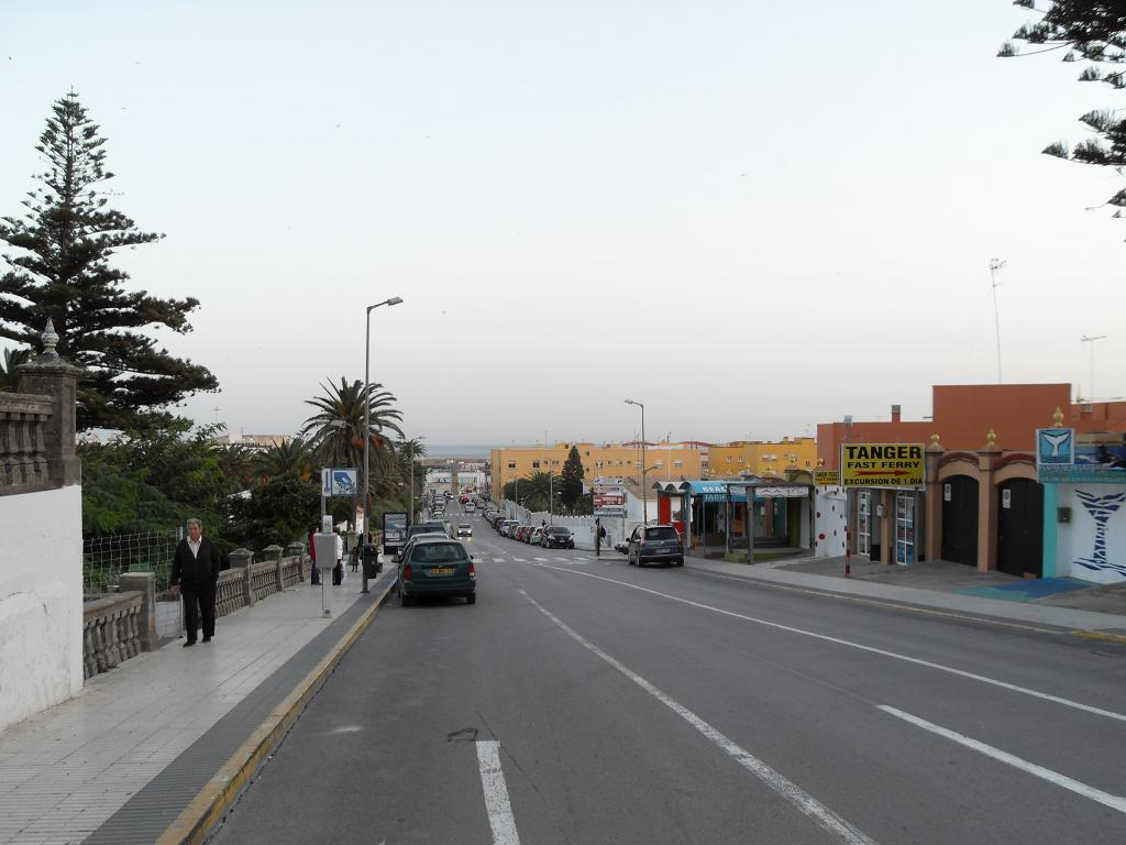 Looking down street towards port where ferry leaves for Tangier.  Tarifa, Spain