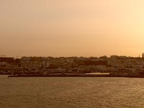 Sunset view leaving Tangier, Morocco by boat