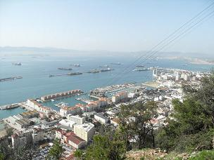 View of Gibraltar town from cable car