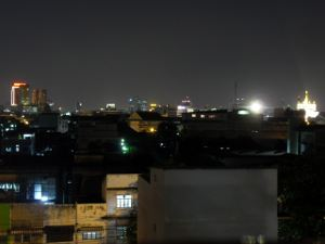 Bangkok syline at night from hotel roof