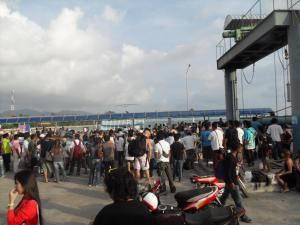 Scene at the ferry port in Phangan