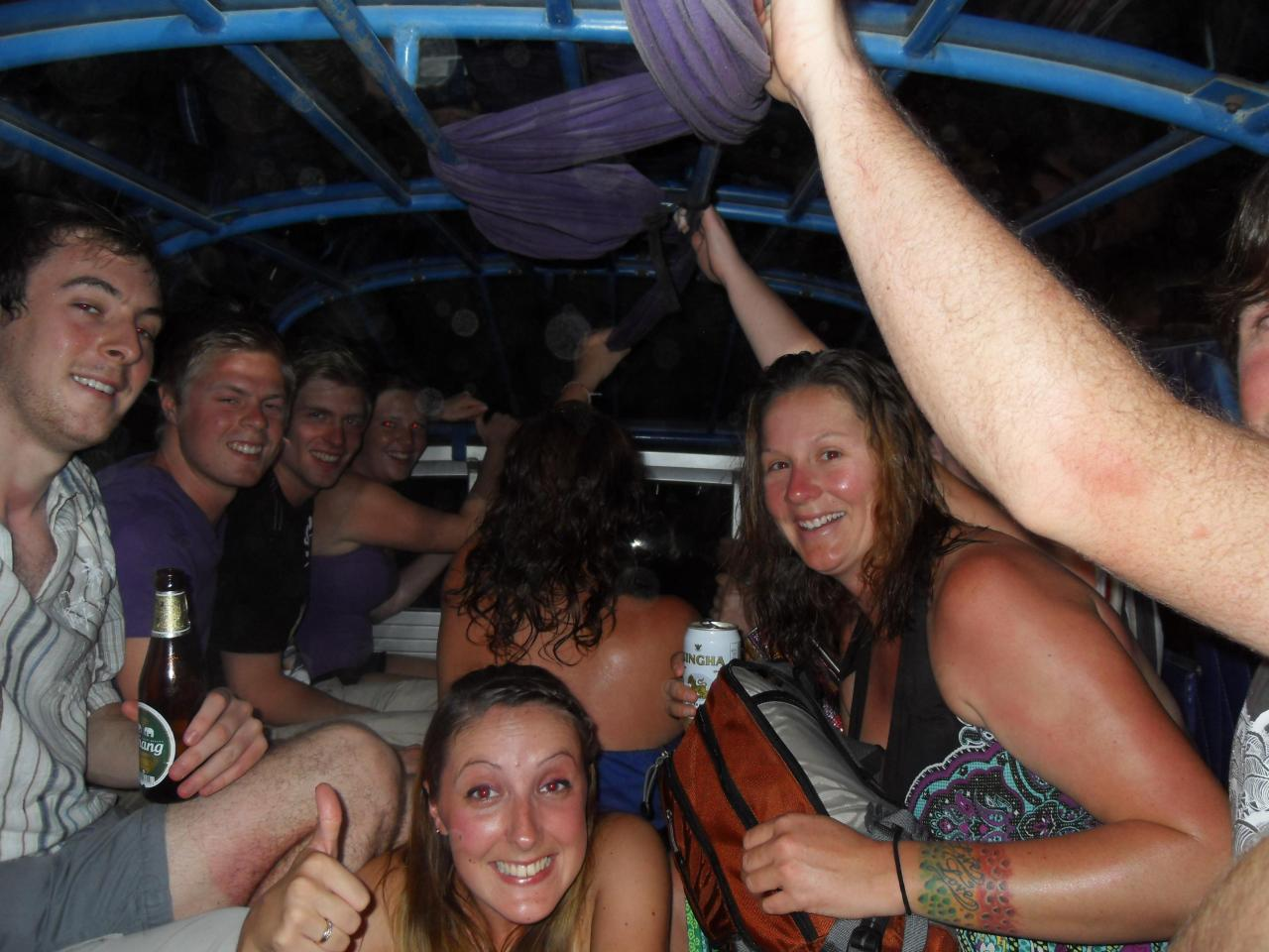 Back of Songthaew, heading to Full Moon Party