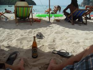 Koh Phi Phi, relaxing with Chang beer on the beach