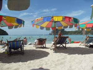 Koh Phi Phi beach under the umbrella