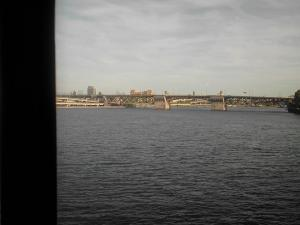 Coming over the river into Portland