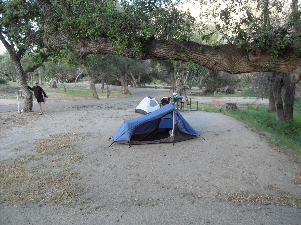 Camping the first night at Ma Tar Awa campground near Viejas after riding 65 miles uphill