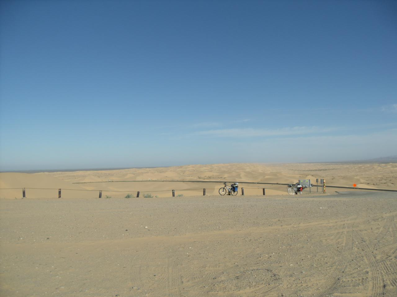 Our bicycles with the dunes in the background