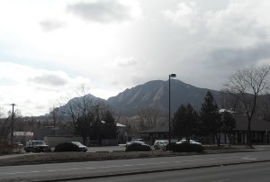 View of Flatirons from Boulder