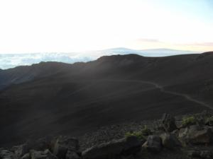 Haleakala crater with Big Island in the background