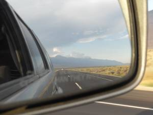 View to Mammoth from the rear view mirror
